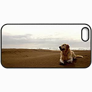 Customized Cellphone Case Back Cover For iPhone 5 5S, Protective Hardshell Case Personalized Dog Sea Sand Black