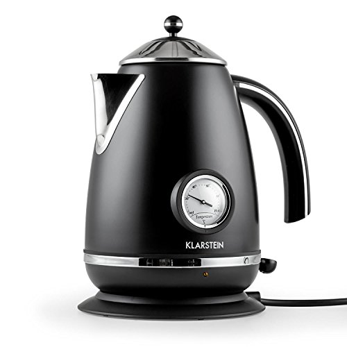 Klarstein Aquavita Chalet Teekannen Design Wasserkocher mit Thermometer (1,7 Liter, schnelle 2200 Watt, analoges Thermostat) mattschwarz
