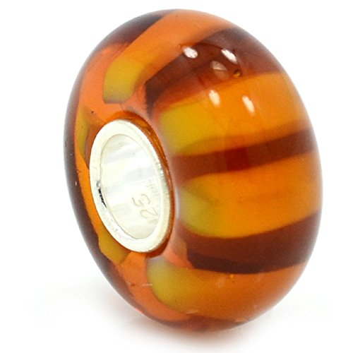 Amber Colored Glass Bead - ICYROSE Solid 925 Sterling Silver Amber Colored Background with Orange Stripes Glass Charm Bead for European Snake Chain Bracelets