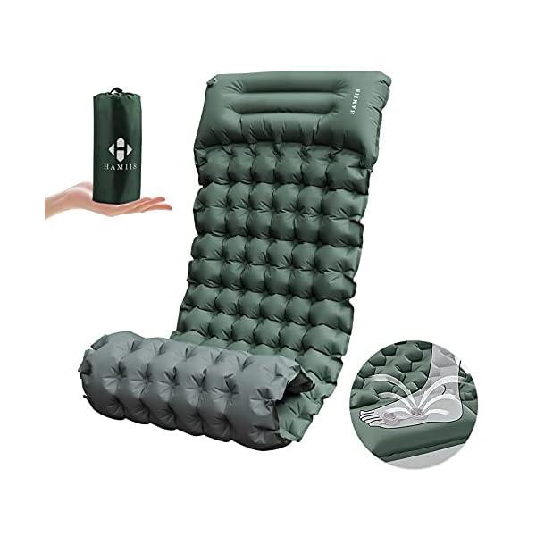 41oLWtYwdDS HAMIIS Isomatte Camping schlafmatte mit Fußpresse Pumpe - Verbreiternde & Verdickte Aufblasbar Isomatte Luftmatratze…