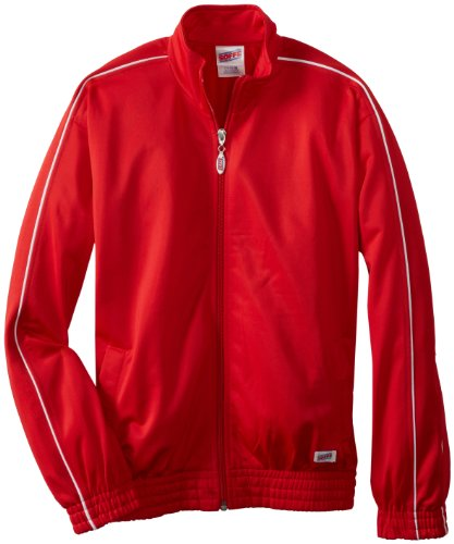 Stripe Warm Up Jacket - Soffe Big Boys' Warm Up Jacket, Red, X-Large