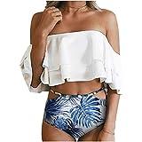 PatPat Family Swimwear Mommy and Me Matching Two Piece Palm Leaf Print Bikini Set with Sunflower Print White