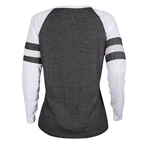 Tops Thanksgiving Damen Langarm Muttertag Geschenk Plus MRULIC grau Patchwork T Bluse Size Shirt Zum C pq0Bxawz