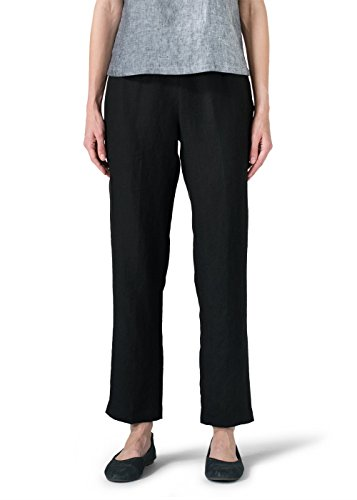 Vivid Linen Narrow Ankle Length Cropped Pants-XL-Black