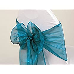 V'Decor Pack of 50 Organza Chair Sashes/Bows sash for Wedding or Events Banquet Decor Chair Bow Sash -Dark Teal