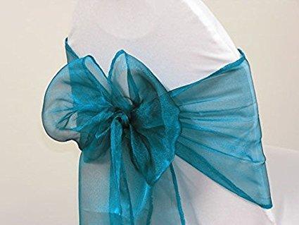 イタリアのホーム50パックオーガンジーNet椅子カバー弓サッシウェディング宴会装飾コーラル( 50、ダークteal-2 )   B01N6W01D1