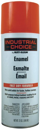 Rust-Oleum 1655830 1600 System Multi-Purpose Enamel Spray Paint, 12-Ounce, Fluorescent Red-Orange