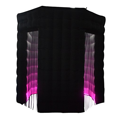 SAYOK Octagon Inflatable Photo Booth Black with 17 Colors Changing LED Lights and Inner Air Blower(Two Doors, 8.2ft Diameter)