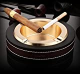 Cigar Ashtray,Leather Stainless Steel Modern