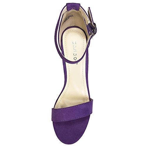 Sandalo Con Tacco Grosso In Bambù Da Donna Con Cinturino Alla Caviglia In Ecopelle Scamosciata Viola