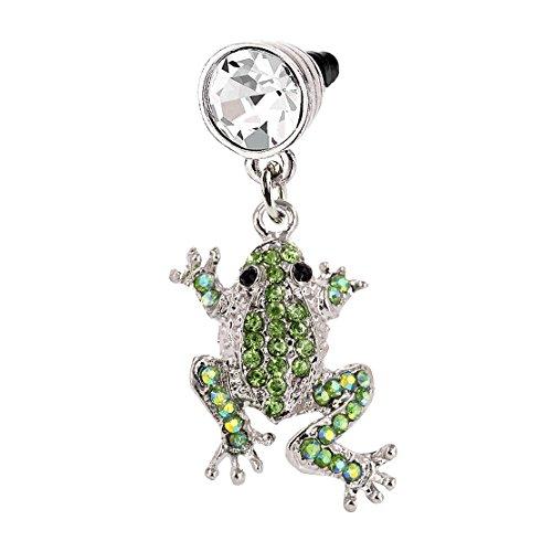 (Green Crystal Frog Phone Charm Anti Dust Plug in Monnel Velvet Bag MP418)