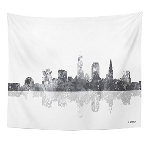 Semtomn Tapestry Artwork Wall Hanging United Cleveland Ohio Skyline States USA Skylines City Watercolour 60x80 Inches Home Decor Tapestries Mattress Tablecloth Curtain Print for $<!--$23.90-->