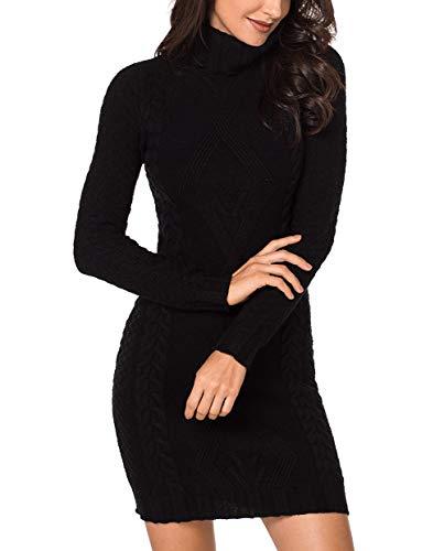 Acelitt Womens Sexy Turtleneck Long Sleeve Knit Sweater Mini Dress Stretchable Elasticity Slim Fit Bodycon Dresses Black Small 4 6 (Boots Sweater Dresses)