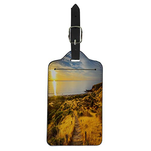 (Semtomn Luggage Tag Yellow Landscape Hallett Cove Boardwalk at Sunset South Australia Blue Adelaide Suitcase Baggage Label Travel Tag Labels)