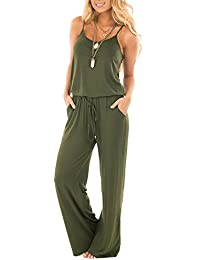 79d92b24399 Women Summer Solid Sleeveless Wide Leg Jumpsuit Casual Spaghetti Strap  Stretchy Long Pant Rompers