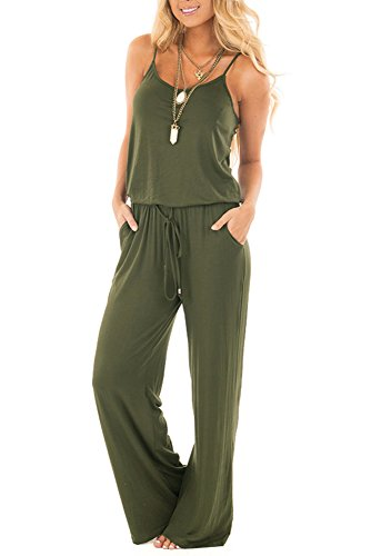YIBU Apparel Women Summer Solid Sleeveless Wide Leg Jumpsuit Casual Spaghetti Strap Stretchy Long Pant Rompers (Large, Army Green)