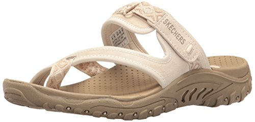 Skechers Modern Comfort Sandals Women's Reggae Trailway Flip Flop, Natural/Cream, 7 M US