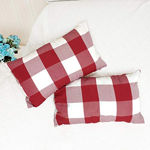 Dansfeng Classic Retro Checkers Plaid Cotton Canvas Square Throw Pillow Covers Christmas Decoration Cushion Case for Sofa Bedroom Car 12 x 20 Inch(Red White - Plaid Heart Pillow
