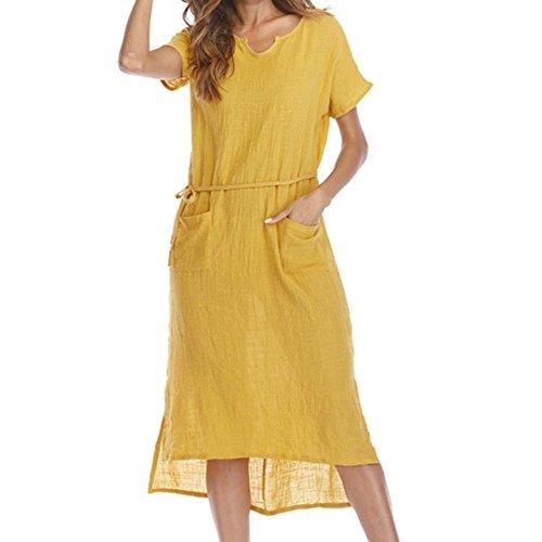Mujer Grande Camisón V para Amarillo Playa Algodón Vestido Collar Boho Suelto Bolsillo de con Blusa QinMM Talla UFq0Pwn