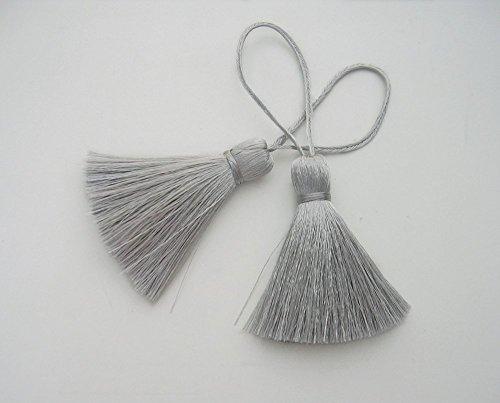 Silver Gray Tassel Silk Handmade Dangling Trim DIY Jewelry Making Craft Fashion Pendant Sewing Embellishments 2 Pieces