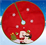 Christmas Tree Skirts Indoor Outdoor Home Xmas Party Tree Skirt Ornaments Holiday Party Decorations (90cm-Snowman)