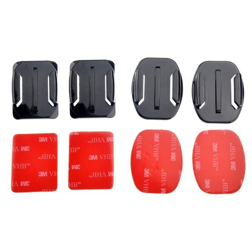 Goliton 2 Flat Mounts and 2 Curved Mounts with 3m Double Sided Adhesive Pads for Gopro Hero5/Gopro Hero4/Gopro Hero 3 / Gopro Hero 3+/gopro Hero 2 / Gopro Hero 1/4 Session/5 Session XiaoYI Xiaomi - Black