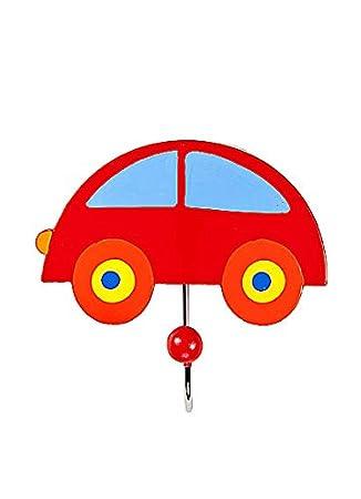 Gancho individual perchero de pared la ropa hecho de madera con forma de coche rojo para la habitación de los niños