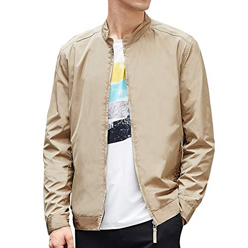 BEVERRY Men's Collarless Lightweight Jacket Casual Coats Zip Up Windbreakers Men - Mens Khaki Windbreaker