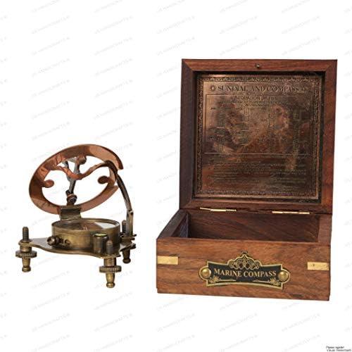 US HANDICRAFTS Vintage Marine WEST London Antique 2.5 Brass Sundial Compass Nautical Decor Big Brass Triangle Sundial Compass with Adjustable Screw Legs
