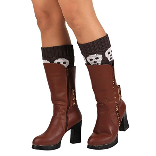 Amiley Women Warm Knitted Socks Skull Leg Warmers Boot Crochet Topper Cuff (Dark Gray)