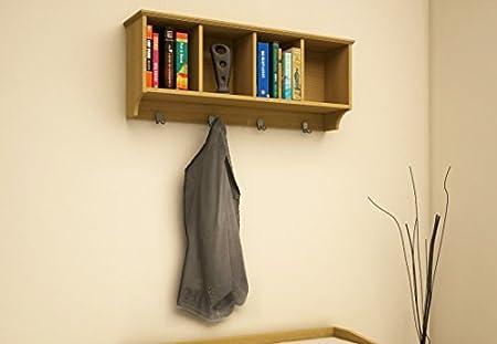 Home Source Wall Mounted Cabinet Coat Hooks Oak Effect Wall Hanging Storage  Unit Kempton
