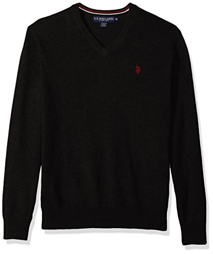 U.S.+Polo+Assn.+Men%27s+Stretch+Fabric+Solid+V-Neck+Sweater%2C+Black%2C+XX-Large