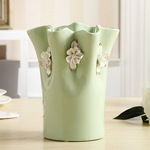 Handmade green Ceramic Vases, Imitation Cloth art lace design,Home Decorations (Color : Without flowers)