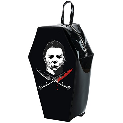 Halloween 2 Michael Myers Crossed Knives Coffin Backpack]()