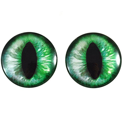 40mm Pair of Green Cat or Dragon Glass Eyes, for Jewelry Making, Dolls, Sculptures, More
