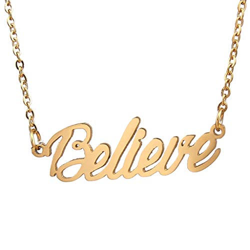 - AIJIAO 18k Gold Plated Script Nameplate Name Necklace Personalized Choker Women Gift/Believe Gold