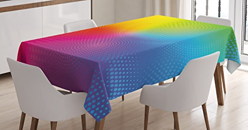 Rainbow Tablecloth by Ambesonne, Vibrant Neon Colors Circles