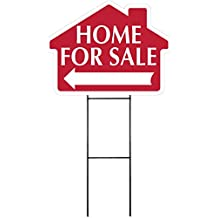 """HOME FOR SALE Sign with Arrow - House Shape Corrugated Sign Kit INCLUDES 24"""" Sign Stake"""