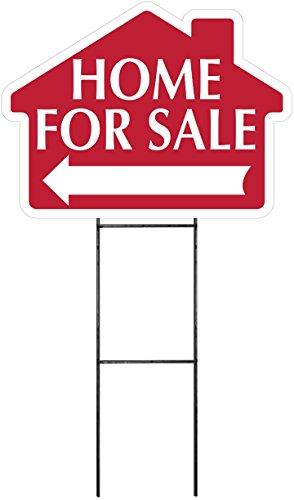 HOME FOR SALE Sign with Arrow - House Shape Corrugated Sign Kit INCLUDES 24