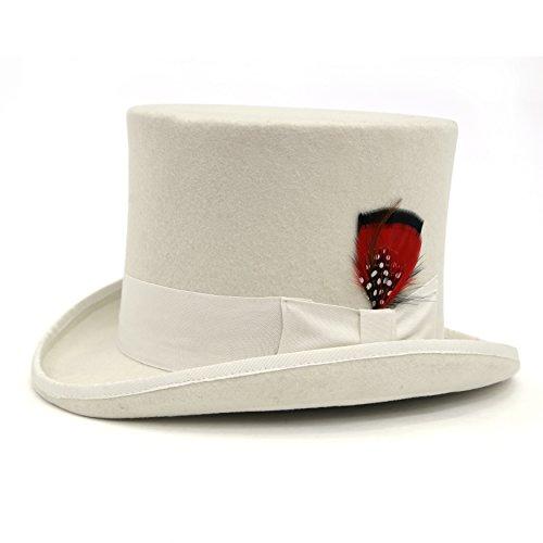 M - Ferrecci Premium Off White Top Hat (White Satin Top Hat)