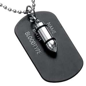 R&B Joyas - Collar hombre, cadena colgantes bala & placa militar estilo soldado arma, metal, color plateado / negro