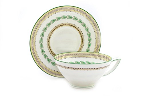 Minton Ashbourne White Green Yellow Footed Cup and Saucer