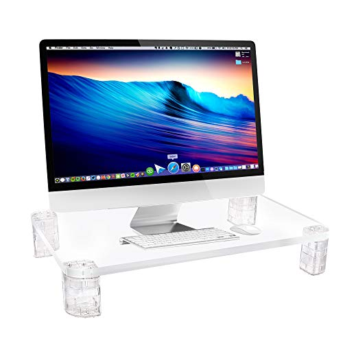 Acrylic Monitor Stand Riser - Computer Desk Shelf Organizer for Laptop, iMac, Printers, Keyboard & Screens Up to 24