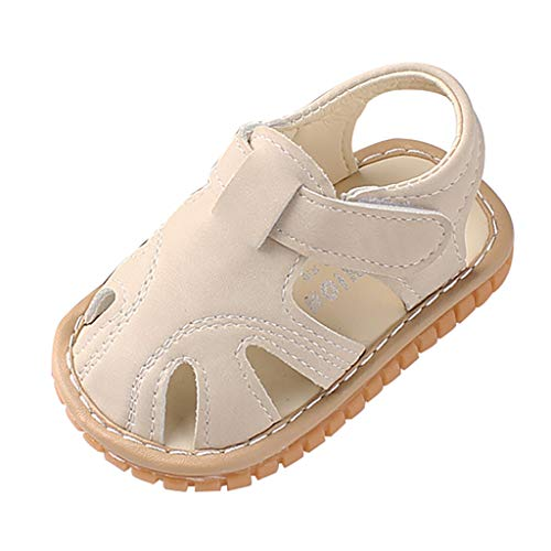 - Newborn Baby Girls Boys Closed Toe Sandals Non-Slip Soft Rubber Sole First Walkers Infant Toddler Slippers Beige