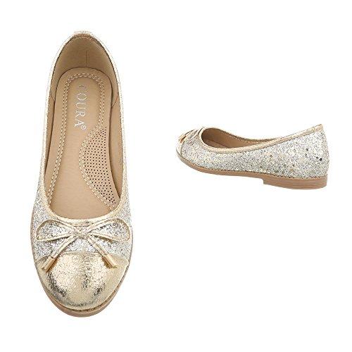 Ballerine Tacco Design Ballerine Ital Donna oro 4534 Scarpe Blocco Classiche a da nZTwq818OB