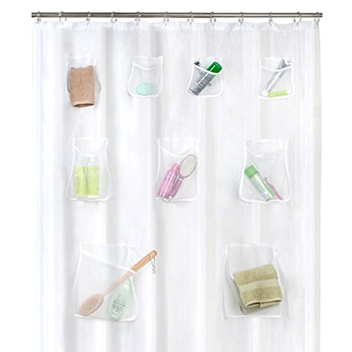 Sundlight Shower Curtain Pockets, PEVA Bath Shower Curtain Organizer with 9 Large Compartments Pockets Hanging Bathroom Curtain Space Saving,72cm x 70cm by Sundlight