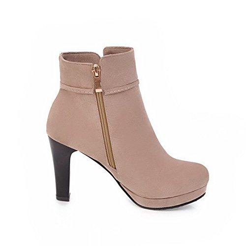 AllhqFashion Damen Kurz Velours Rein Reißverschluss Rund Zehe Stiefel, Aprikosen Farbe, 34