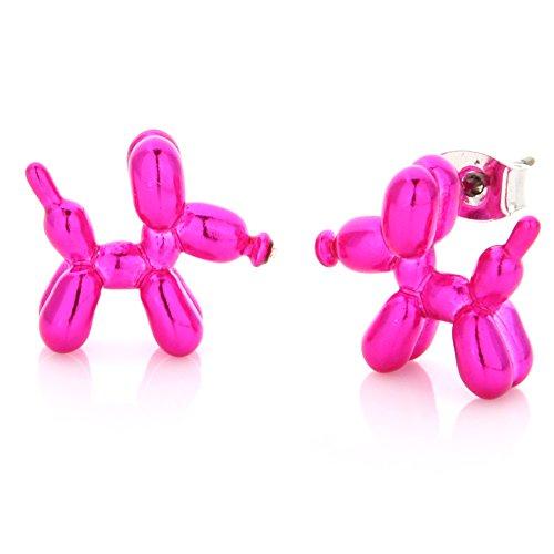 LAONATO Balloon Dog Stud Earrings (Pink)