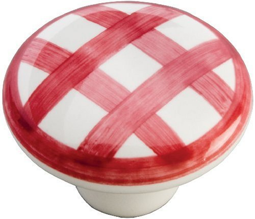 Hickory Hardware P2180-WRCK 1-1/2-Inch English Cozy Knob, White With Red Checker (Knobs White Country Mushroom)