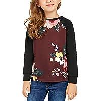 Lookbook Store Girls Casual Floral Print Elbow-Patch Long Sleeve Sweatshirt Tops